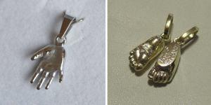Piktogram - šperky ze zlata a stříbra z 3D odlitku